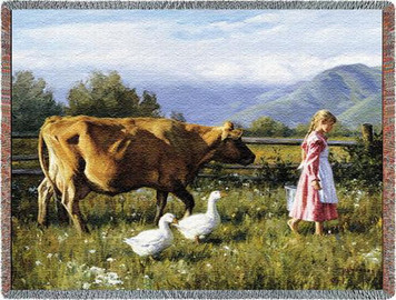 Morning Walk Cow Tapestry Throw PC-2339-T