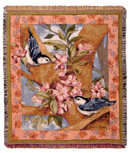 Nuthatch Pair Throw Blanket