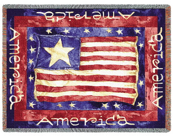 Old Glory Tapestry Afghan or Throw PC773-T
