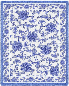 Oriental Blue Woven Cotton Throw