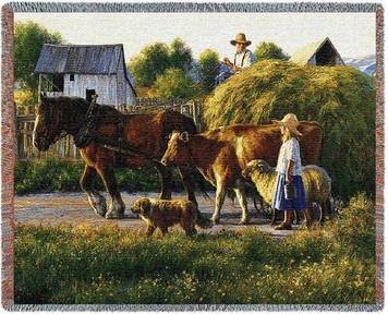 Passing Parade Farm Animal Tapestry Throw