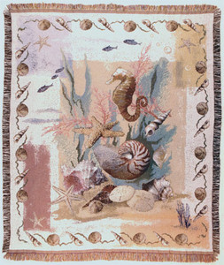 DISCONTINUED Pastel Shells Tapestry Throw WT-TPM841