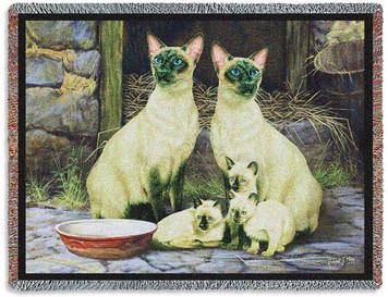 Siamese Cat Family Tapestry Throw