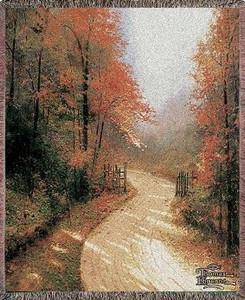 Thomas Kinkade Autumn Lane Tapestry Throw