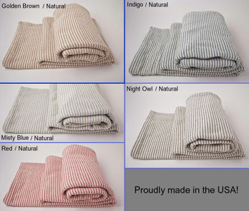 King Ticking Stripe Cotton Blanket with Natural Background