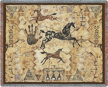 Tlalocs Tribe Horse Tapestry Throw