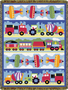 Olive Kids Trains Planes Trucks Mini Tapestry Throw