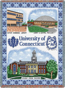 CONNECTICUT University of Connecticut Collage Tapestry Throw