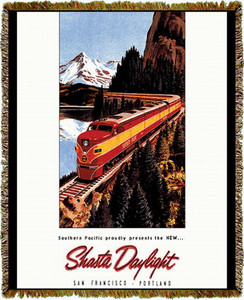 Union Pacific Railroad Shasta Daylight Train Tapestry Throw MS-2455TU3