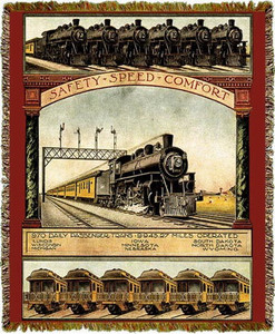 Union Pacific Railroad Steam Train Tapestry Throw