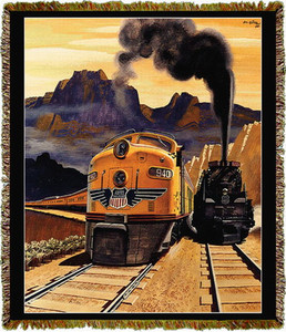 Union Pacific Railroad Streamliner Train Tapestry Throw