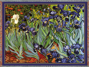 Van Gogh Irises Tapestry Throw