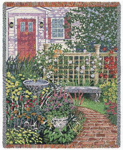 Welcome Home Garden Tapestry Throw