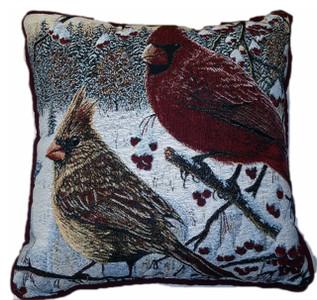 White Crimson Morning Cardinal Tapestry Pillow