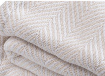 White and Natural Cotton Chevron Queen Bed Blanket closeup