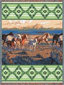 Green Wild Horses Afghan or Throw