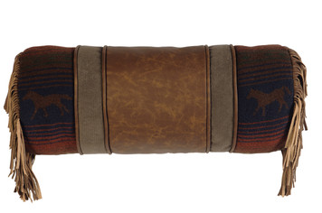 Mustang Canyon Fabric and Leather Neckroll Pillow