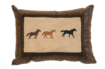Wooded River 3 Horse Pillow WD1294