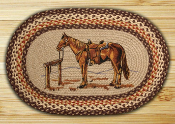 Horse Hand Printed Oval Patch Rug OP129