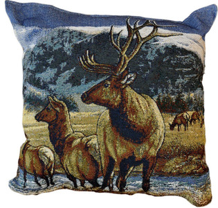 A Distant Call Elk Tapestry Pillow