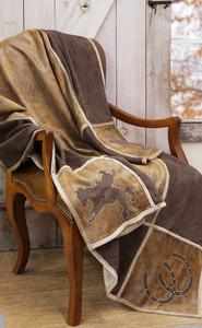 Western Grid Cowboy Faux Leather Throw Blanket