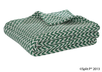 Natural and Green Chevron Cotton Throw Blanket