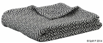 Charcoal and Natural Diamond Cotton Throw Blanket