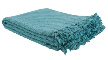 Teal Woven Cotton Throw with Fringe