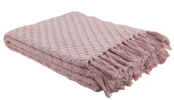 Blush Twill Weave Cotton throw blanket with fringe