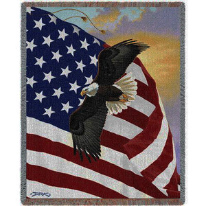 Majestic Bald Eagle and American Flag Cotton Tapestry Throw Blanket