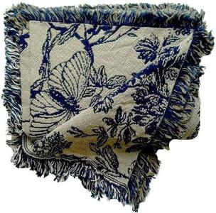 Amelias Garden Cotton Throw Navy