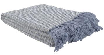 Blue Lattice Woven Cotton Throw Blanket