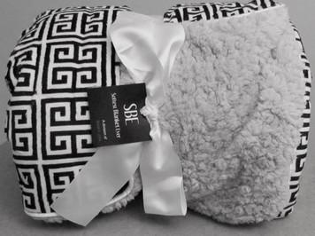 Softest Blanket Ever SBE Adult Greek Key Black and White Print Blanket