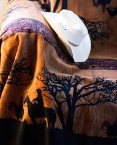 Sunset Cowboys/ Black #224 50x60 Inch Throw Blanket