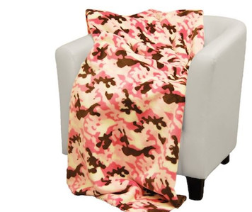 Camouflage Pink/Taupe #678 50x60 Inch Throw Blanket