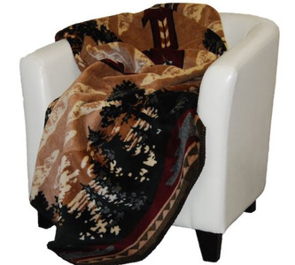 Autumn Point/Merlot #216 60x70 Inch Throw Blanket