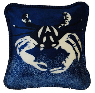 Atlantic Blue Large Sand Crab/Lapis #474 18x18 Inch Throw Pillow
