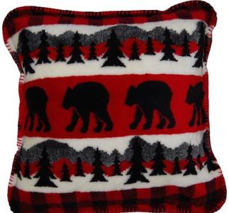 Bear Plaid Border/Black #620 18x18 Inch Throw Pillow