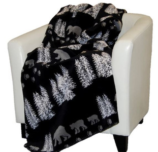 Black Denali Bear/Black #018 60x70 Inch Throw Blanket