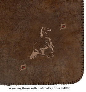 Wyoming Throw with Embroidered Horse