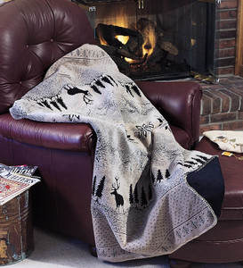 Black Forest Friends/Black #011 60x70 Inch Throw Blanket