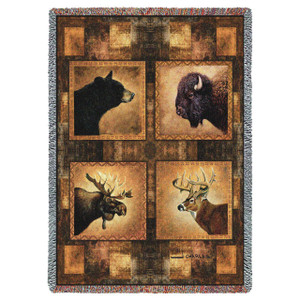 Big Game Heads Throw Blanket by Pure Country Weavers (53x70 Inches)