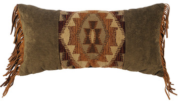 Wooded River Stone Mill Pillow with Fringe