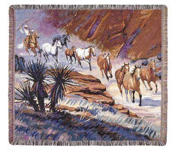 Coming Through the Canyon Tapestry Throw