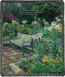Eternal Springtime Throw Blanket w/ Verse by Thomas Kinkade by Manual Woodworkers & Weavers (50x60 Inches)