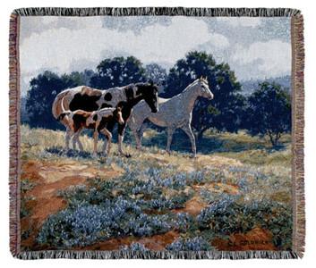 April Breezes Horses Tapestry Throw Blanket