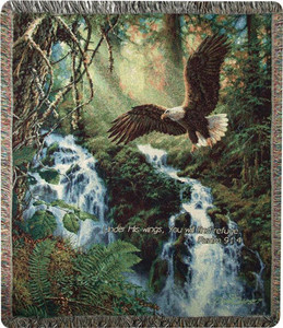 Eagle's Flight Throw Blanket w/ Verse by Manual Woodworkers & Weavers (50x60 Inches)