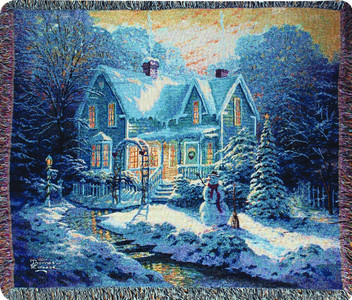 Blessings of Christmas by Thomas Kinkade by Manual Woodworkers & Weavers (50x60 Inches)
