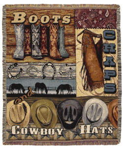 Boots Chaps and Cowboy Hats Tapestry Throw