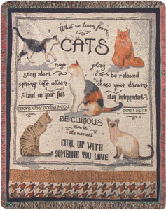 What We Learn From Cats Throw Blanket by Manual Woodworkers and Weavers (50x60 Inches)